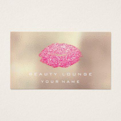 Makeup artist lips rose gold vivid pink glitter business card