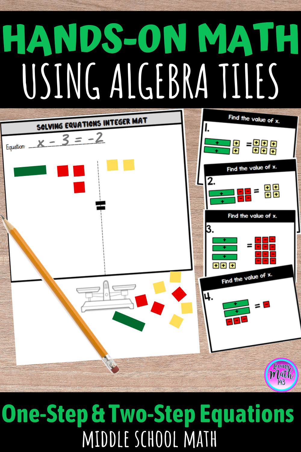 Solving One Step And Two Step Equations Using Algebra Tiles Bundle Middle School Math Maths Activities Middle School Middle School Math Anchor Charts [ 1500 x 1000 Pixel ]