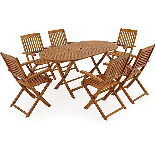 Salon De Jardin Boston 1 Table Et 6 Chaises En Bois D Acacia Certifie Fsc Ensemble Table Et Ch Table Et Chaises Ensemble Table Et Chaise Salon De Jardin Bois