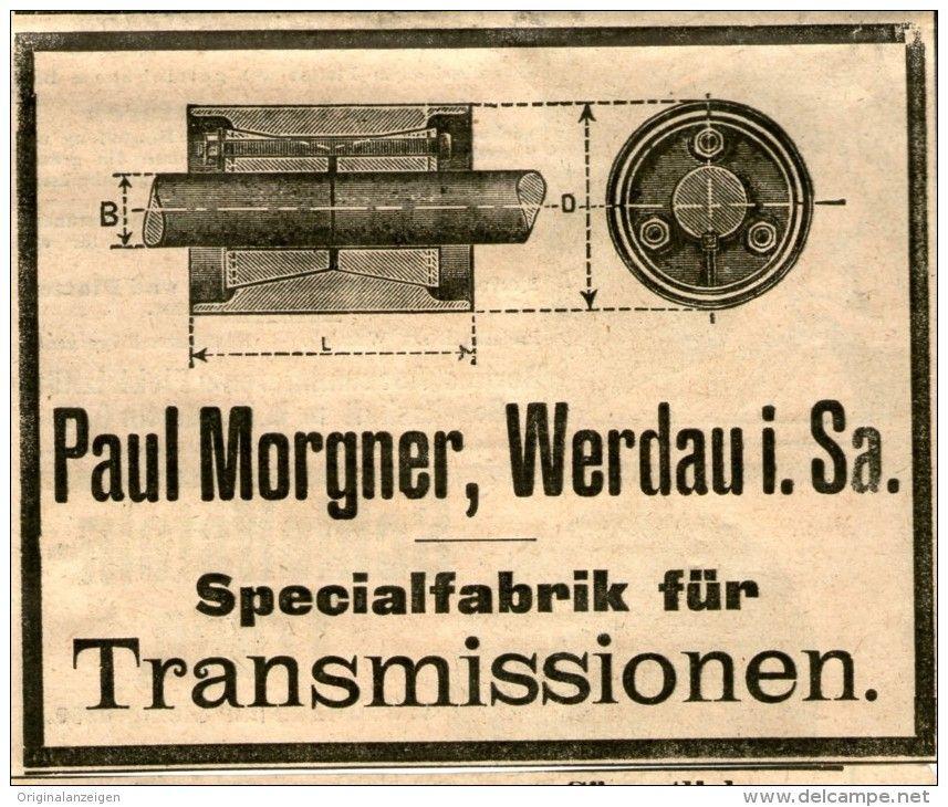 Original-Werbung/ Anzeige 1903 - TRANSMISSIONEN / PAUL MORGNER WERDAU ca,. 100 x 80 mm