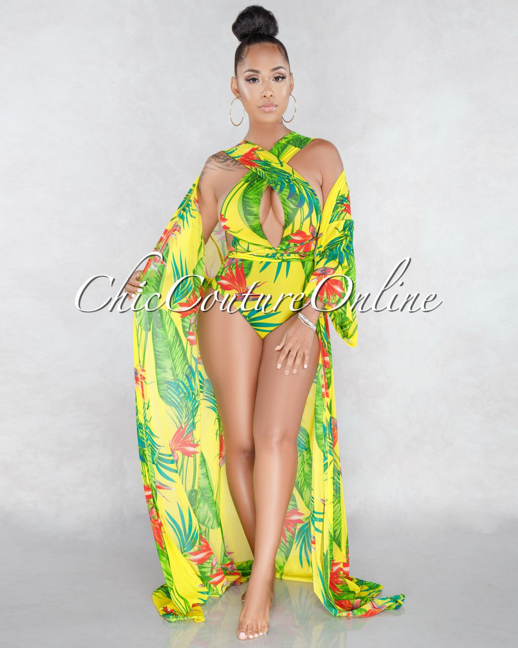 3b913e6e0ee Chic Couture Online - Aruba Yellow Leaf Red Floral Print Mesh Swimsuit Cover -up/Set