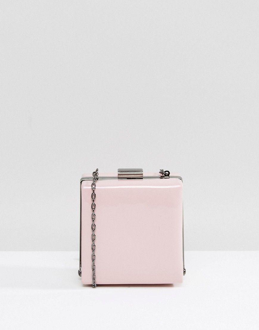 842309c60fa6 ASOS Mini Patent Frame Box Clutch Bag - Pink