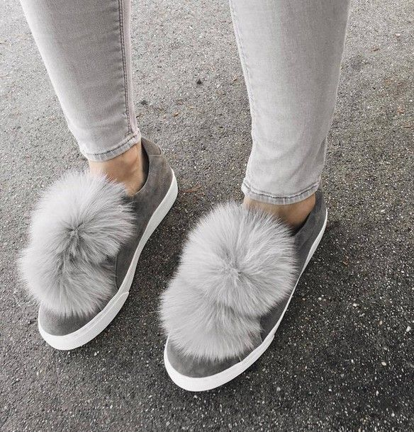 Shoes: tumblr sneakers grey sneakers pom poms low top sneakers