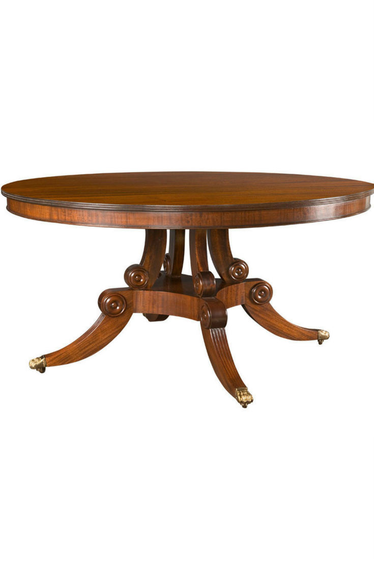 18th Century Furniture Regency Style Pedestal Round Dining Table With Optional Reeded Edge A Bead Legs And Cast