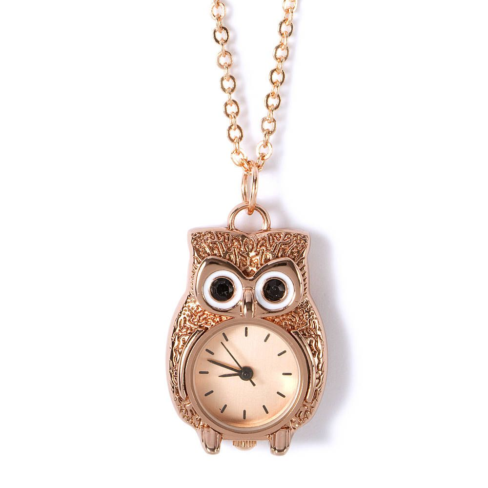 Owl pocket watch pendant necklace claires claires the store owl pocket watch pendant necklace claires mozeypictures Images