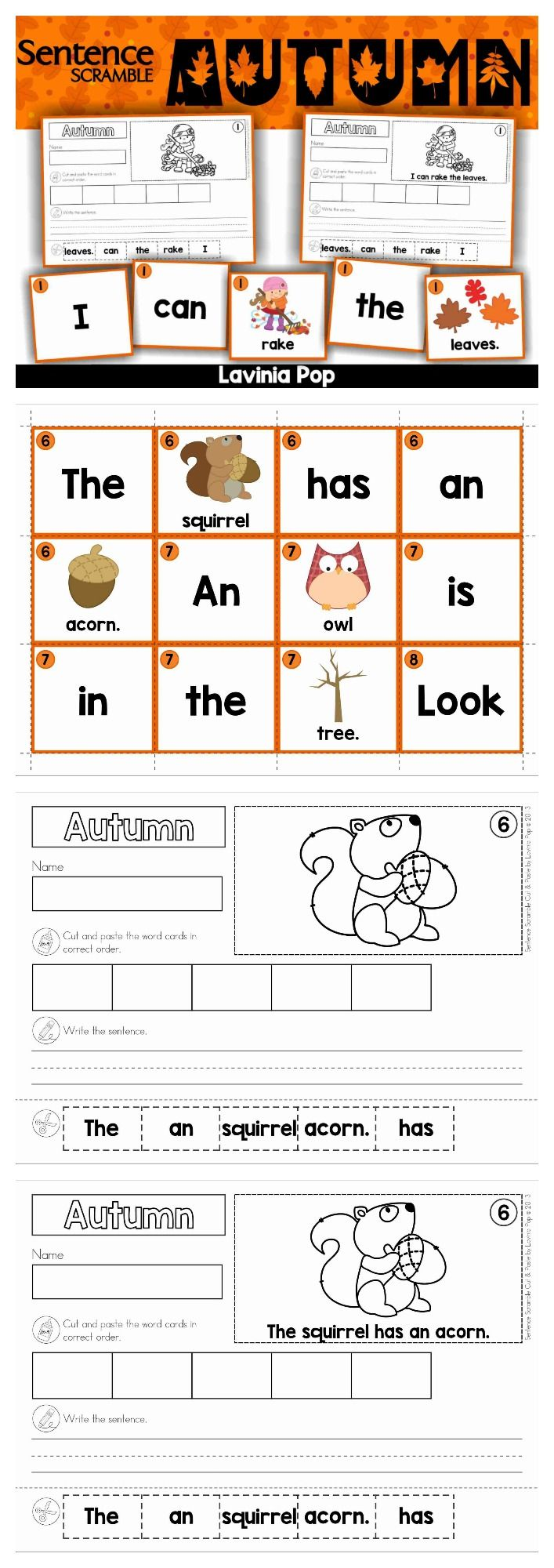 autumn fall sentence scramble with cut and paste worksheets my tpt products cut paste. Black Bedroom Furniture Sets. Home Design Ideas