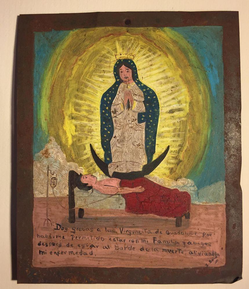 Mexican RETABLO Ex voto Folk Art Religious Painting Blood Transfusion