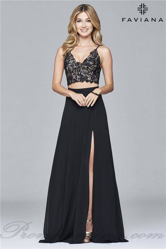 473fae1566c1 Lace Split Floor Length Two Piece Prom Dresses from Faviana 7996 ...