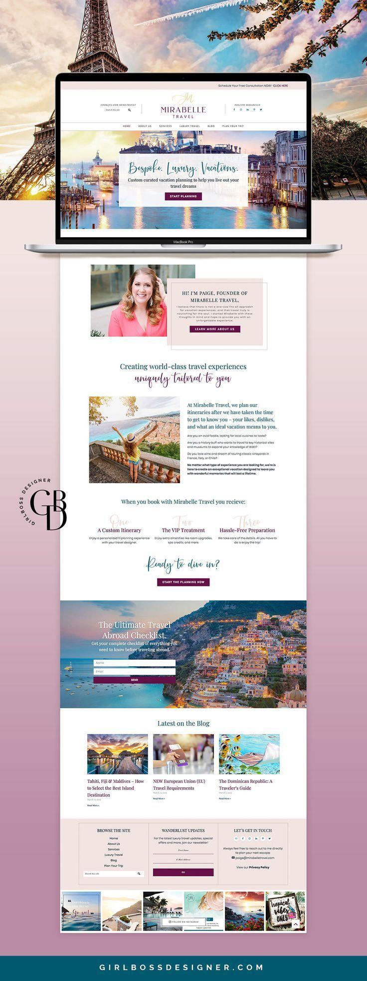 Luxury Travel Designer Branding and Website Design - by Girlboss Designer #travelwebsitedesign #travelbusinessbranding #traveldesign #luxurytravel #womenentrepreneurs #femaleentrepreneurs #girlboss #graphicdesign #logodesign #colorpaletteinspiration