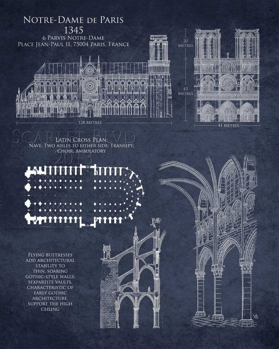 Notre dame de paris 8 x 10 art historical by scarletblvd for Printing architectural drawings