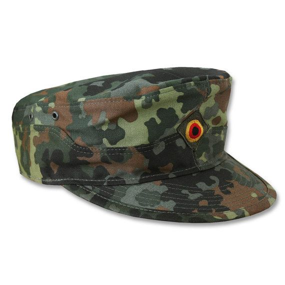 Vintage German army cadet cap beret military hat bundeswehr camouflage camo baseball peaked flecktarn