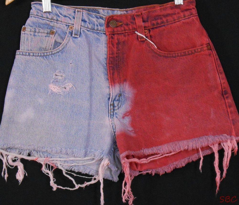 Vtg Levis 550 High Waisted Denim shorts Festival Dyed Frayed holes Distressed  #Levis #Denim #vintage #highwaisted #shorts #cutoffs #levis550 #coachella #red #denimshorts #shearsbranchcoopery