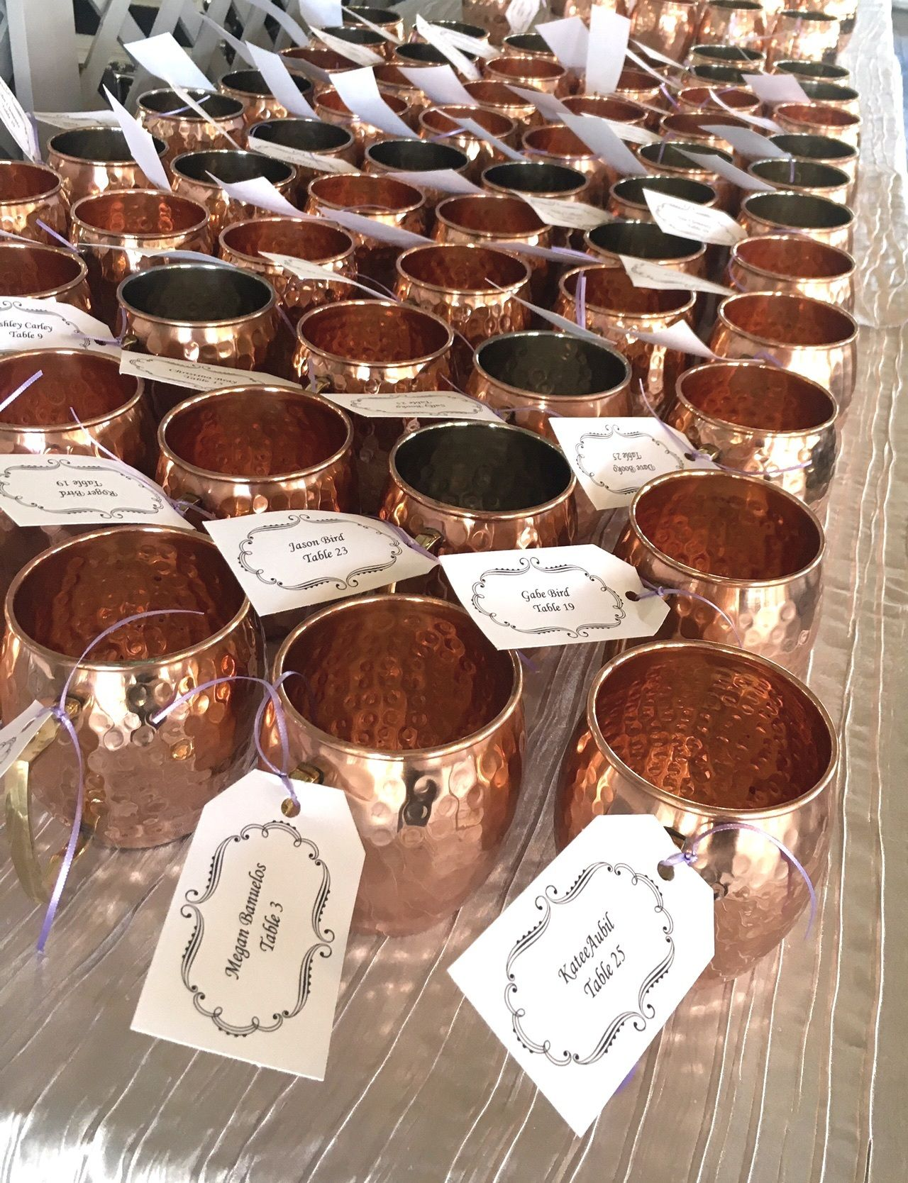This Castle Farms Used Copper Mugs As Both A Seating Chart And Wedding