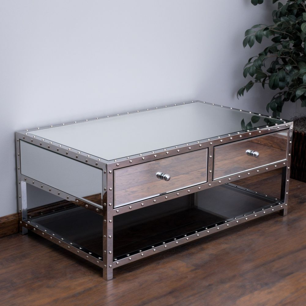 Living Room Furniture Mirrored Finish Studded Accent 2 Drawer Coffee Table Mirrored Coffee Tables Coffee Table Coffee Table With Storage [ 1000 x 1000 Pixel ]