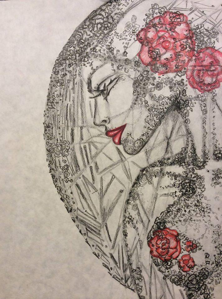 """Woman"", graphite and colored pencil"