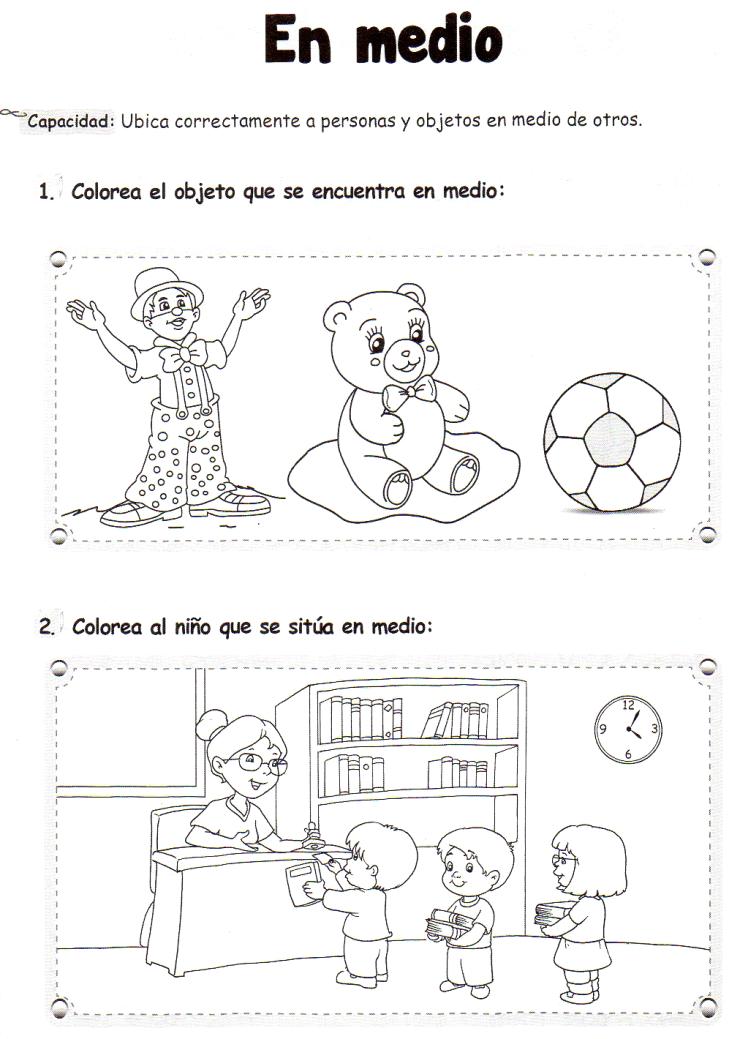 Ficha imprimible de matemáticas para 5 años. Tema: En medio ...