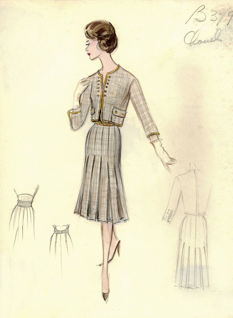 chanel 1960 vintage chanel fashion sketches from the 1950s and 1960s chanel pinterest. Black Bedroom Furniture Sets. Home Design Ideas