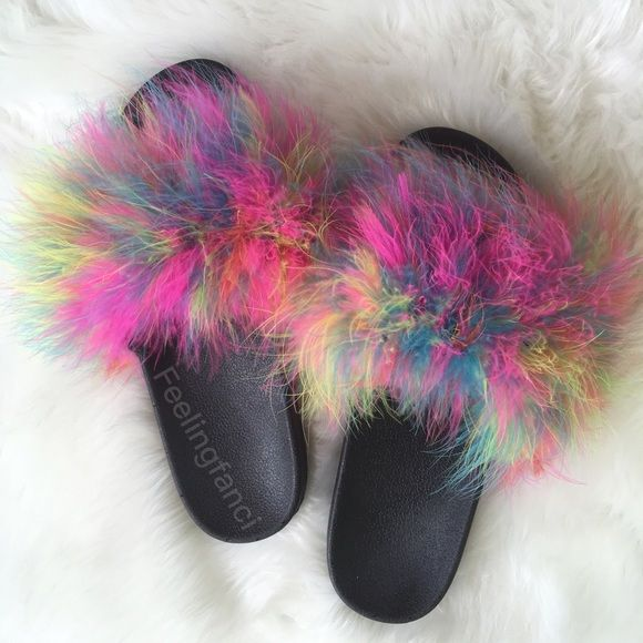 e2e4af7fdbf745 Feeling Fanci Faux Fur Slides Multi Color Fur Slides with Custom Faux Fur  In Multi Color. No half sizes 5 6 7 8 9 10 Shoes Sandals