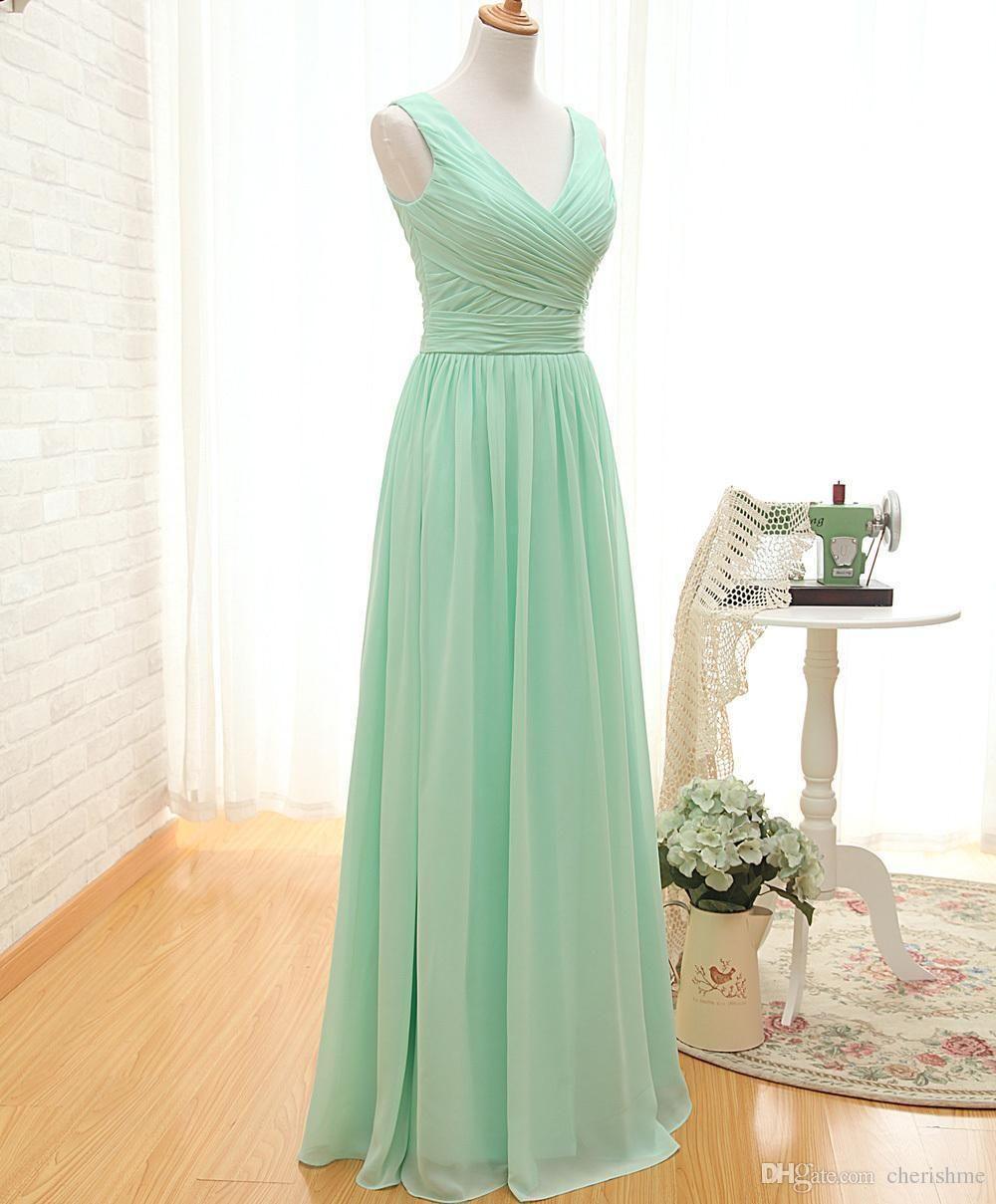 Alluring mint green bridesmaid dresses long chiffon aline floor