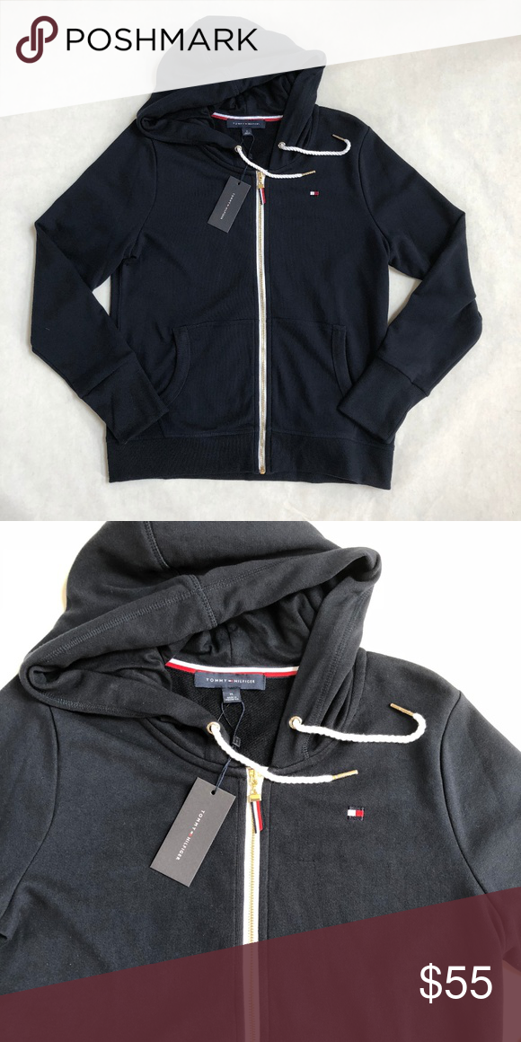 abab196a0c404 Tommy Hilfiger Navy Blue Zip Up Hoodie Flag Logo Brand New with Tags Navy  Blue Hoodie Rope Drawstrings with gold toned tips 2 Pockets Tommy Hilfiger  Tops ...