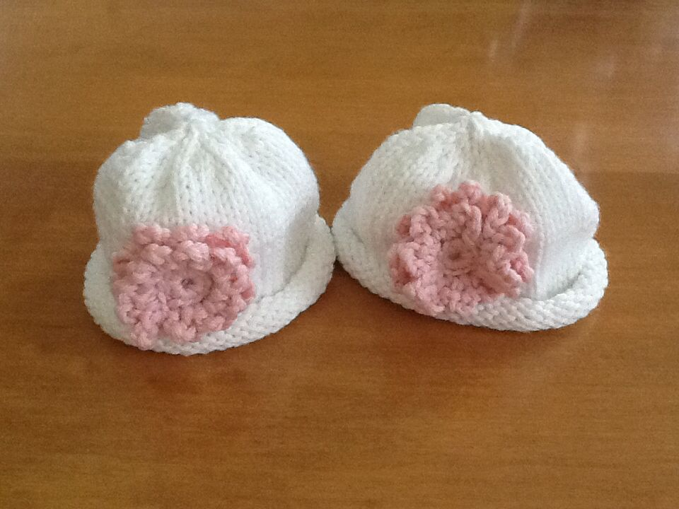 The first hats I made for the twins.