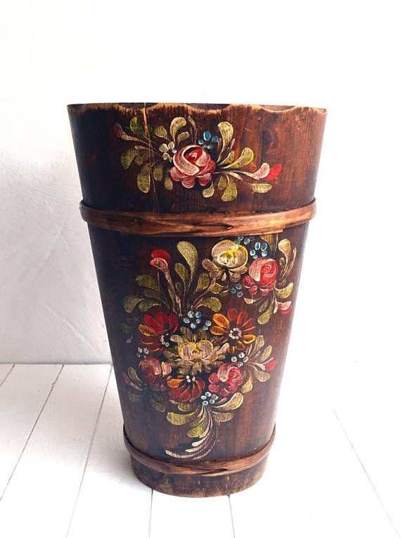 Antique German Umbrella Stand Hand Painted Floral Folk Art Etsy Flowers