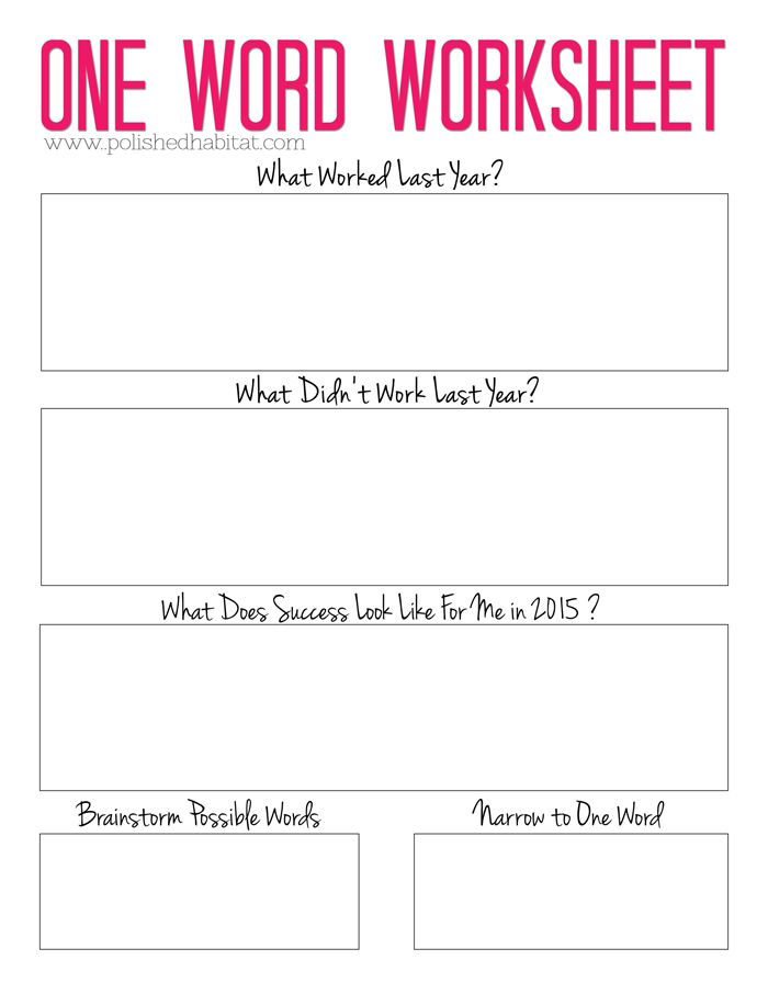 2015 word of the year free one word planning worksheet new