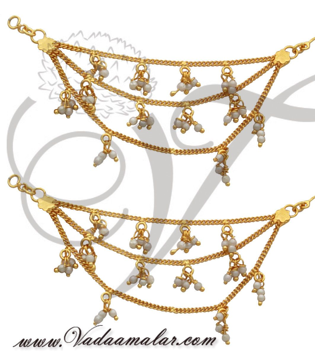 earrings with attached pearl hair chain india buy online