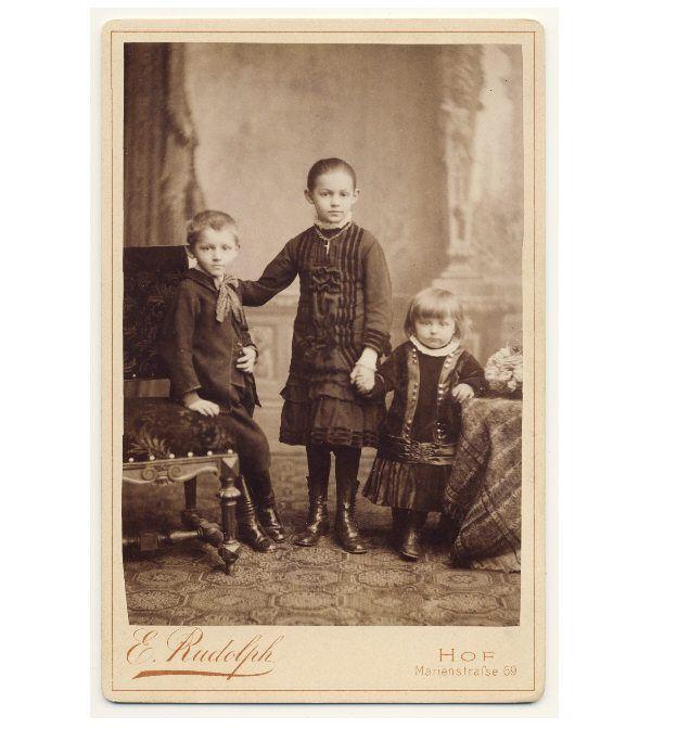 Vintage photo of three German children