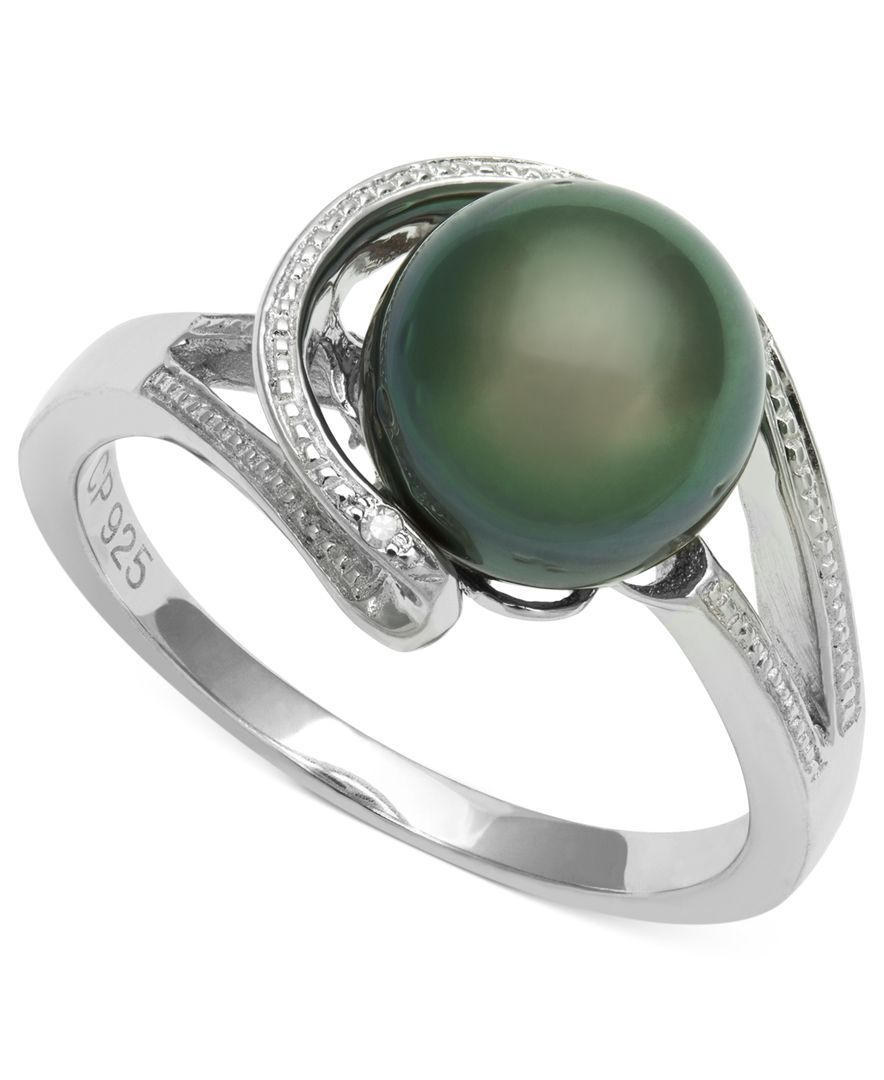 Cultured Tahitian Black Pearl (8mm) and Diamond Accent Circle Ring in Sterling Silver