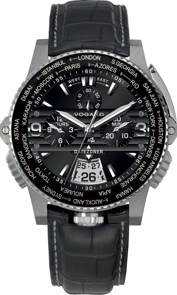Vogard Datezoner Ref.Nr. DZ 61 Titanium Stainless Steel Black: