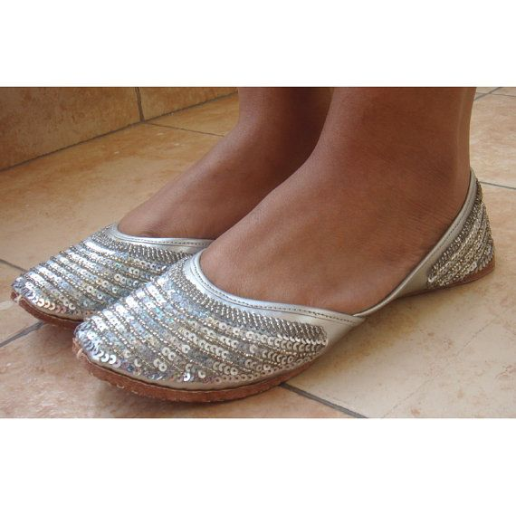 Us Size 6 Silver Sequin Bridal Ballet Flats Wedding Shoes Handmade Indian Designer Women Or Slippers Maharaja Style Jooties
