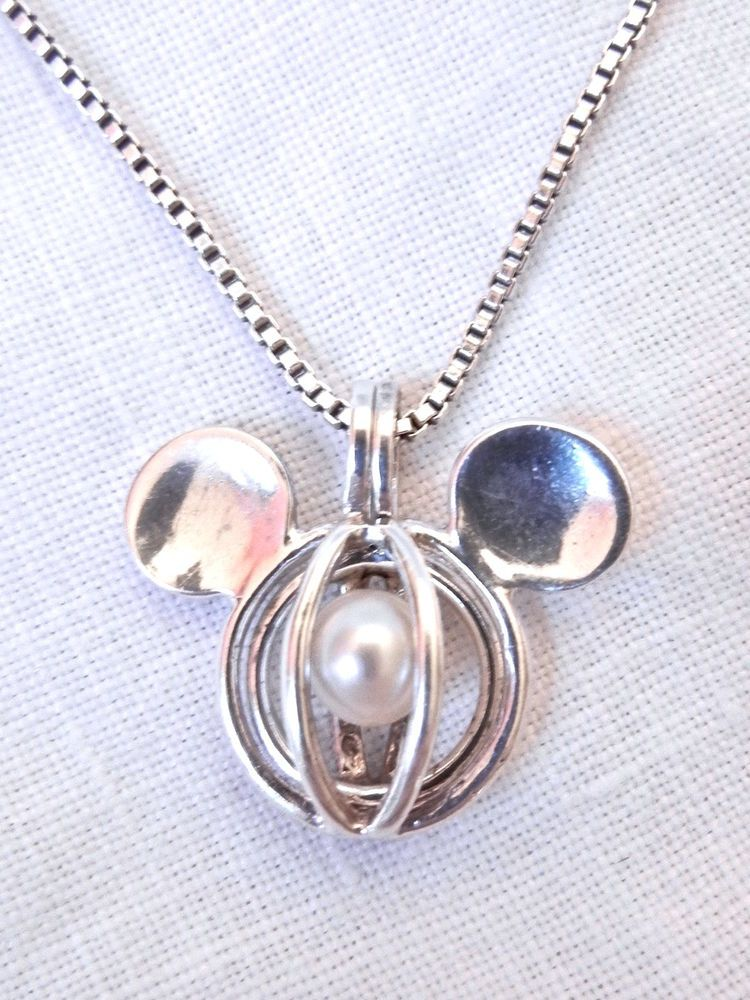 pick a pearl mickey mouse sterling silver cage pendant 18. Black Bedroom Furniture Sets. Home Design Ideas
