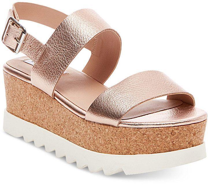 Flatform sandals, Rose gold sandals