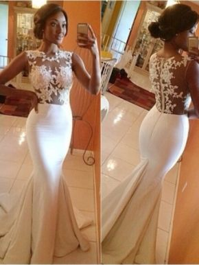 White A-line round neckline Lace Long Prom Dresses, Wedding Dress