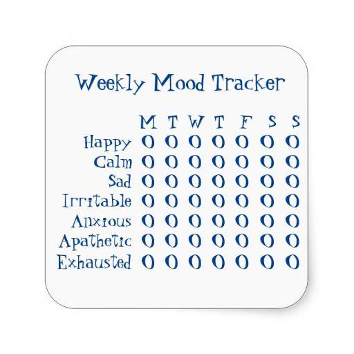 Weekly Mood Tracker Square Sticker | Zazzle.com