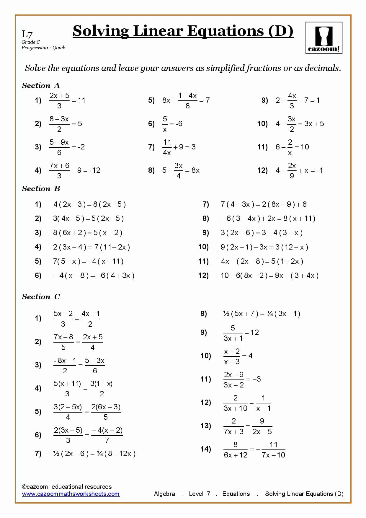 50 Linear Equation Worksheet In