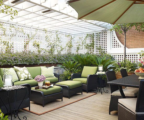 Adding a trellis to your back porch can make it more private! More private porch & 13 Tips to Make Your Deck More Private | Pretty Patios Porches and ...