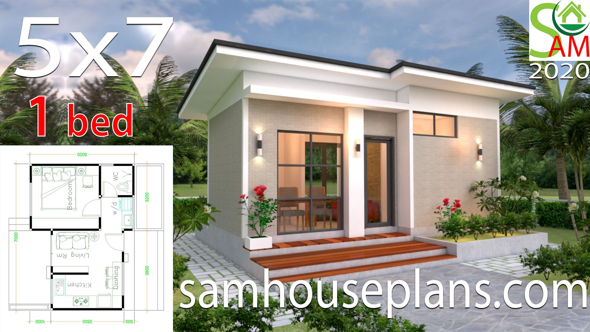 House Design Plans 5x7 With One Bedroom Shed Roof The House Has Car Parking And Garden Living Roo Small House Design Plans Diy House Plans House Plans Mansion