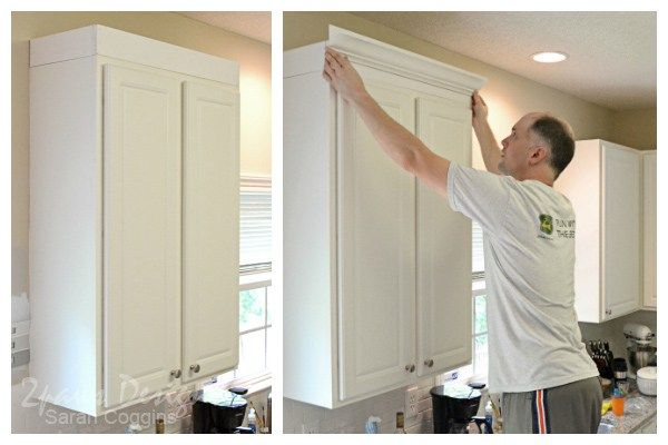 Project Kitchen Creating Custom Cabinets - Kitchen cabinet molding, Kitchen cabinet crown molding, Cabinet molding, Diy cabinet doors, Upper kitchen cabinets, Cabinet - See how we added height and a  custom  look to our kitchen cabinets with 1x4 boards and crown moulding  foreclosuretohome