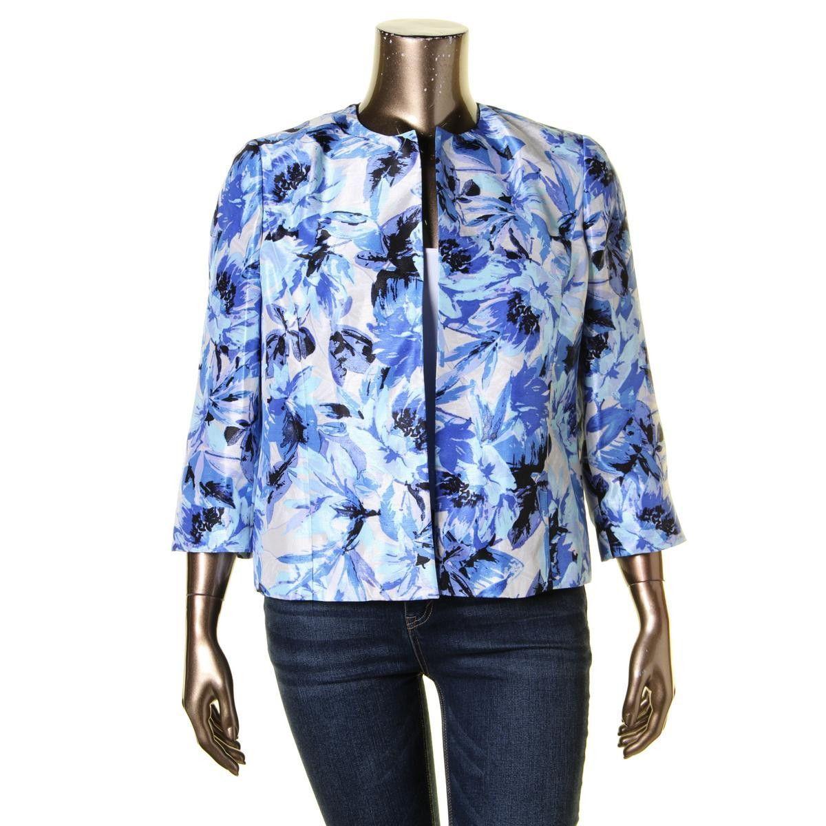 Kasper Womens 3/4 Sleeves Floral Print Collarless Blazer