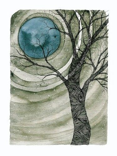 watercolor, blocks of color in swirls around the moon, tree overlay. use salt technique.