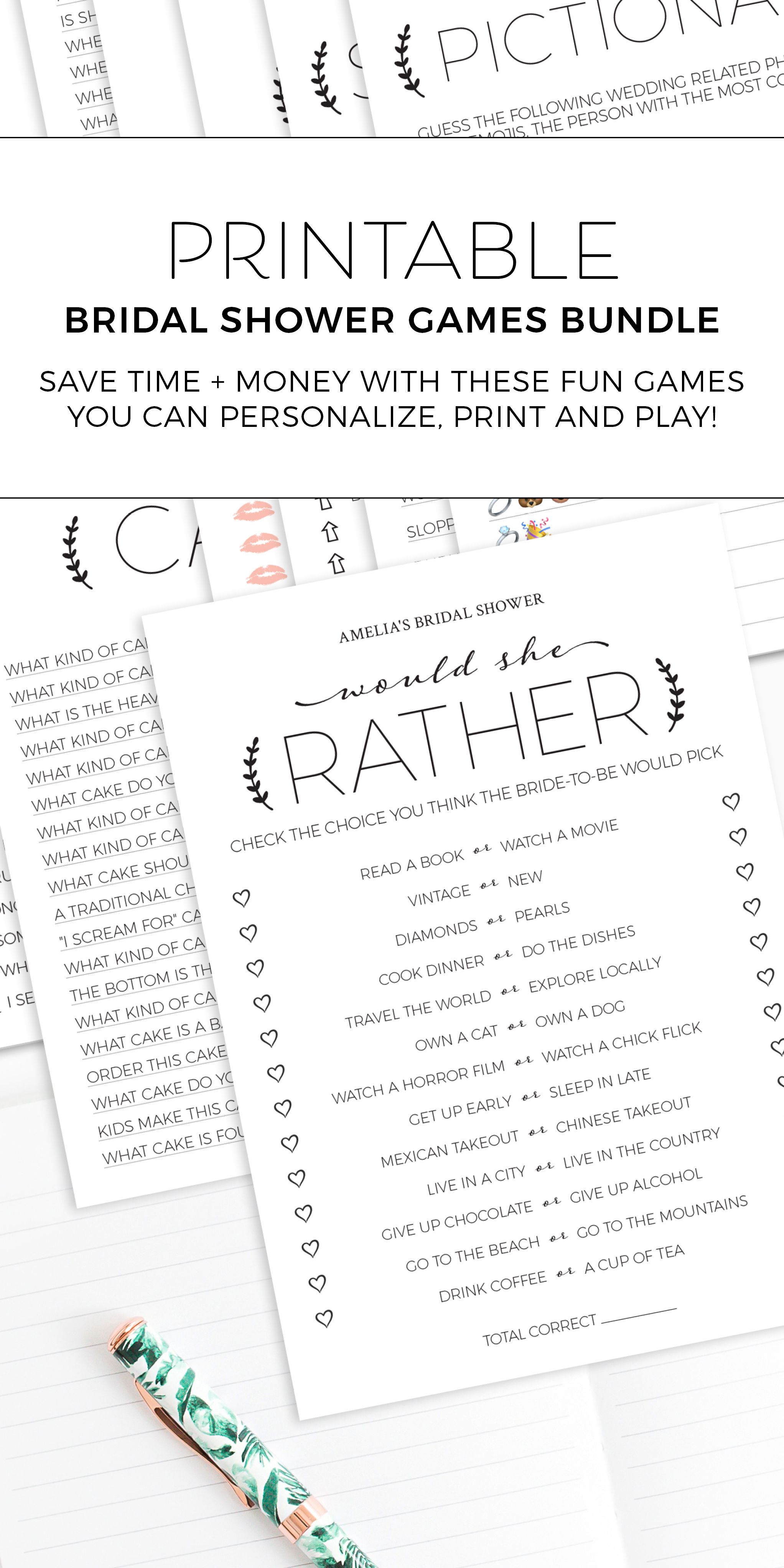 Black and White Printable Bridal Shower Games Bundle
