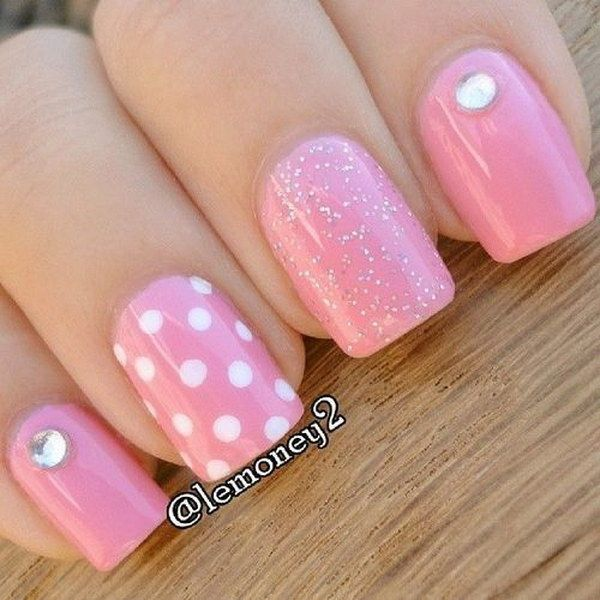 Polka Dots Pink White Nails