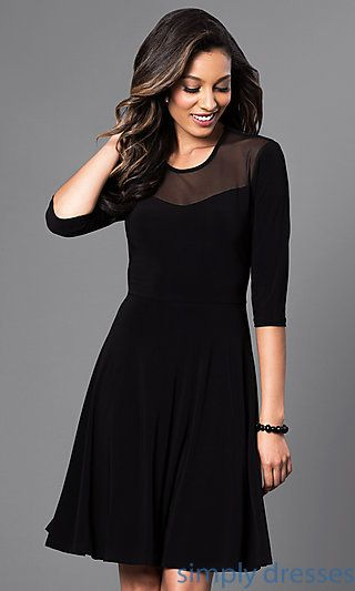 c3e16a067199 Shop long-sleeve dresses and short black party dresses at Simply Dresses.  Little-black dresses and semi-formal cocktail dresses with sleeves.