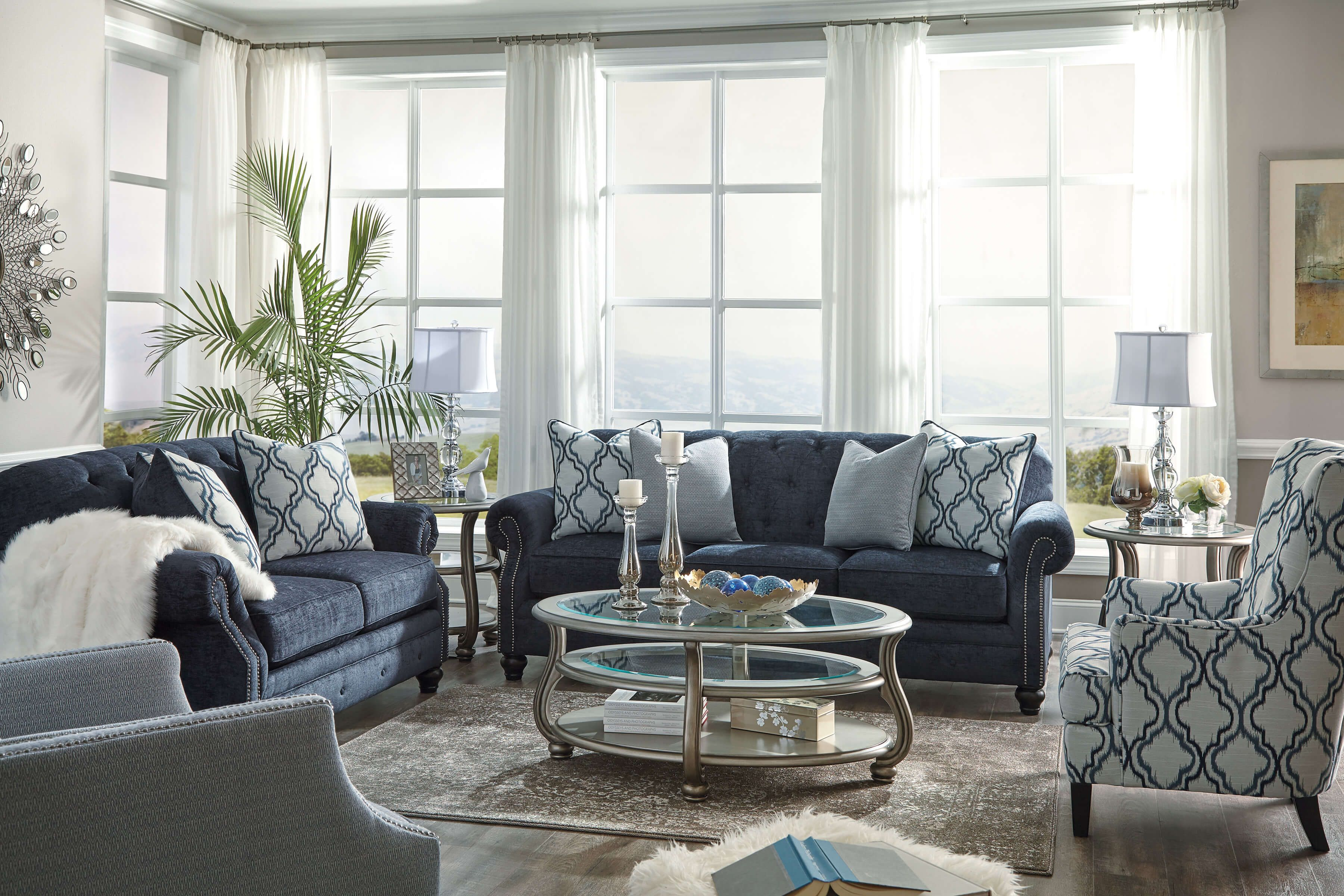 Lavernia Chesterfied Navy Blue Sofa And Loveseat Living Room Sets Navy Living Rooms Blue Living Room Navy And White Living Room