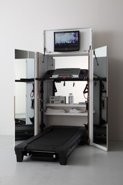 Bureau Met Loopband.It S Awesome How Small This Home Gym Folds Up Loopband Kast