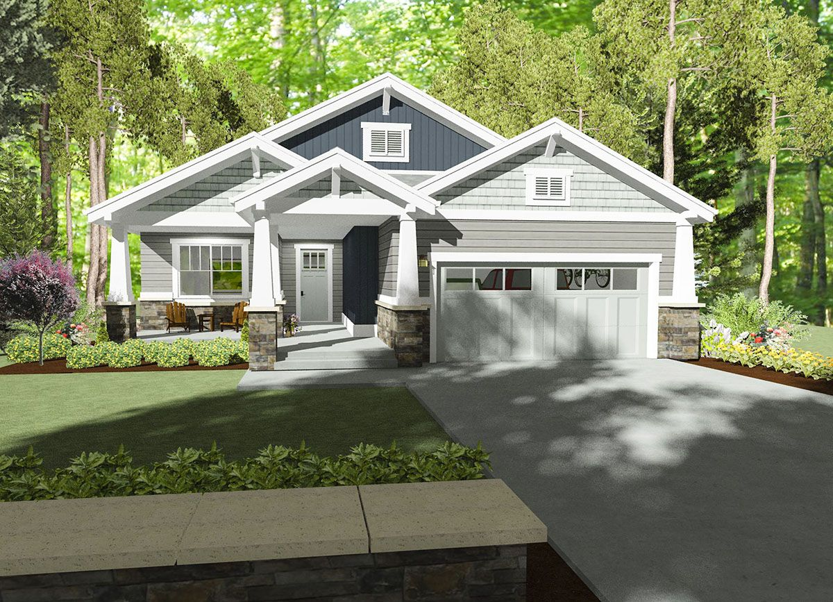 Plan sc cozy bungalow house plan bungalow foyers and nook