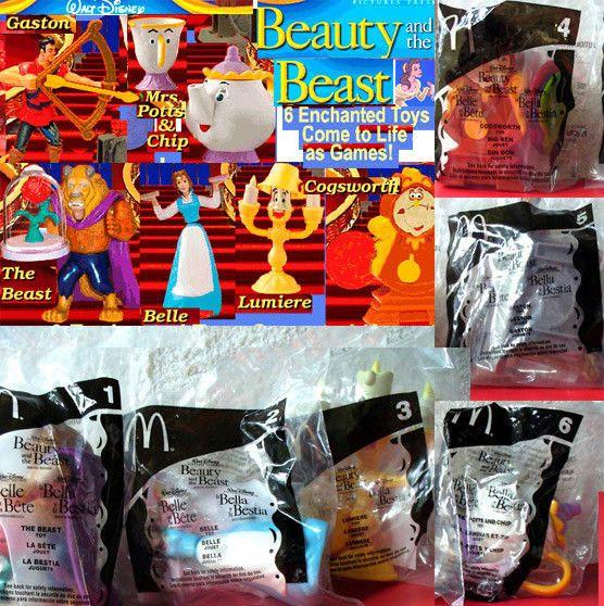 McDonald's Beauty and the Beast 2002 - 6 Toy Set new Sealed Cake Decoration  #McDonalds