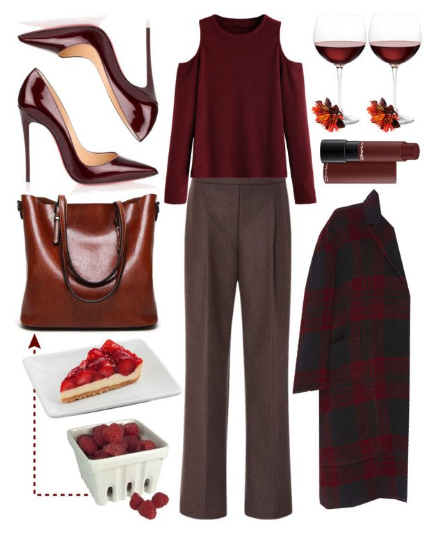 """""""Red Wine"""" by cherieaustin ❤ liked on Polyvore featuring Zac Posen, Christian Louboutin, WithChic, Nordstrom, Rochas, Deborah Rhodes and Artland"""
